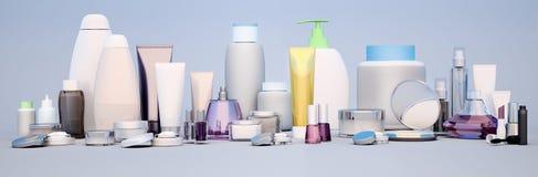 Sistema del cosmético decorativo Polvo, lápiz corrector, cepillo de la sombra de ojos, ilustración del vector