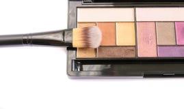 Sistema del cosmético del polvo y del cepillo Fotografía de archivo libre de regalías