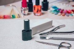 Sistema del cosmético y de manicura en fondo de madera Foto de archivo