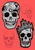 Sistema del cráneo del pirata del vector Fotos de archivo