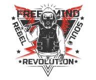 Sistema del cráneo rebelde y de la impresión blanco y negro esquelética de la revolución para la camiseta foto de archivo libre de regalías