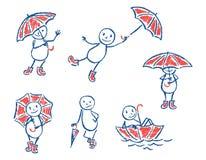 Sistema del creyón como hombre y el paraguas divertidos dibujados mano del garabato del ` s del niño libre illustration