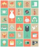 Sistema del cuadrado de los iconos de la boda Fotografía de archivo