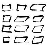Sistema del cuadrado del dibujo de la mano negra Foto de archivo libre de regalías