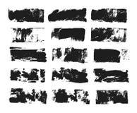 Sistema del cuadro de texto rectangular Raya de la pintura del Grunge Movimiento del cepillo del vector Colección aislada negro d stock de ilustración