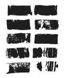 Sistema del cuadro de texto rectangular Raya de la pintura del Grunge Movimiento del cepillo del vector Colección aislada negro d ilustración del vector