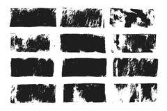 Sistema del cuadro de texto rectangular Raya de la pintura del Grunge Movimiento del cepillo del vector Puntos negros del grunge  ilustración del vector