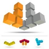 sistema del cubo 3D Fotos de archivo libres de regalías