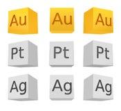 Sistema del cubo del metal noble; oro; plata; platino Imagenes de archivo