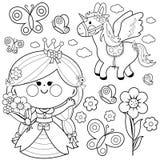 Sistema del cuento de hadas de la princesa Página que colorea libre illustration