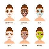 Sistema del cuidado de piel de la mascarilla stock de ilustración