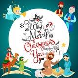Sistema del día de fiesta de la Feliz Navidad del ángel del vuelo y de la historia de Jesus Christ ilustración del vector