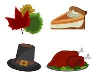 Sistema del día de la acción de gracias: Turquía, sombrero, pastel de calabaza, icono de la hoja Ca Imagenes de archivo