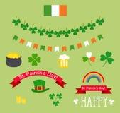 Sistema del día de St Patrick de los elementos del diseño Foto de archivo libre de regalías