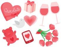 Sistema del día de tarjeta del día de San Valentín Foto de archivo