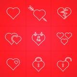 Sistema del día de tarjetas del día de San Valentín de iconos del esquema Fotografía de archivo