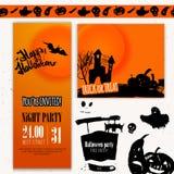 Sistema del día del feliz Halloween del vector de banderas Mano Fotos de archivo libres de regalías