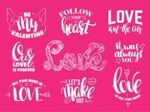 Sistema del día del ` s de la tarjeta del día de San Valentín del St de citas con las letras escritas mano de la tinta Foto de archivo libre de regalías