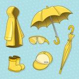 Sistema del día lluvioso Ilustración del vector Foto de archivo