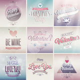 Sistema del día del ` s de la tarjeta del día de San Valentín Imágenes de archivo libres de regalías