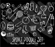 Sistema del deporte de la colección del dibujo del garabato del vector en backgroun negro Fotos de archivo libres de regalías
