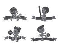 Sistema del deporte del personaje de dibujos animados Fotografía de archivo