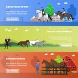 Sistema del deporte ecuestre, caballos de domesticación del vector, cultivando banderas del concepto libre illustration