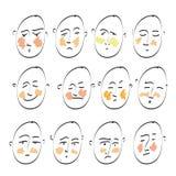 Sistema del dibujo de bosquejo del garabato de iconos Las emociones del ser humano Elementos para el diseño Fotografía de archivo libre de regalías