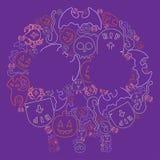 Sistema del dibujo de la mano de Halloween de elementos Foto de archivo