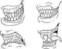 Sistema del dibujo de la mano de los mandíbulas asustadizos blancos y negros de Halloween, colmillos, dientes, hocicos terribles, libre illustration