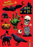Sistema del dibujo de la mano de los objetos de Halloween stock de ilustración