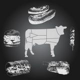 Sistema del dibujo de la pizarra de la comida de la carne de vaca Foto de archivo libre de regalías
