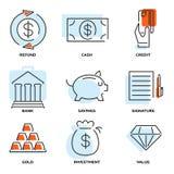 Sistema del dinero y de la línea plana iconos del valor del vector Fotografía de archivo libre de regalías