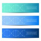 Sistema del diseño abstracto de la bandera, fondo de la estructura de la molécula de la DNA Gráficos geométricos y líneas conecta Imagenes de archivo