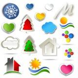 Sistema del diseño abstracto del icono Foto de archivo libre de regalías