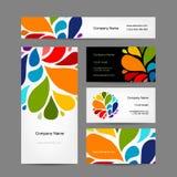 Sistema del diseño creativo abstracto de las tarjetas de visita Imágenes de archivo libres de regalías