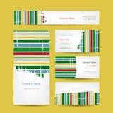 Sistema del diseño creativo abstracto de las tarjetas de visita Foto de archivo