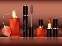 Sistema del diseño de artículos promocionales cosméticos Accesorios lápiz labial, rimel, botella de perfume, esmalte de uñas del  Imagenes de archivo