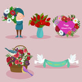 Sistema del diseño de la imagen de los elementos del día de fiesta del día de la primavera y de las mujeres Foto de archivo libre de regalías