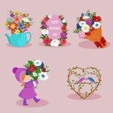Sistema del diseño de la imagen de los elementos del día de fiesta del día de la primavera y de las mujeres ilustración del vector