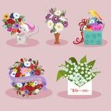 Sistema del diseño de la imagen de los elementos del día de fiesta del día de la primavera y de las mujeres Fotos de archivo libres de regalías