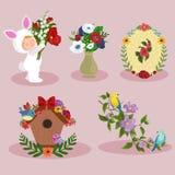 Sistema del diseño de la imagen de los elementos del día de fiesta del día de la primavera y de las mujeres stock de ilustración