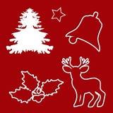 Sistema del diseño de la Navidad de los elementos del invierno Corte el papel libre illustration