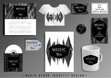 Sistema del diseño de la plantilla de la identidad corporativa de Music Store ilustración del vector