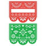 Sistema del diseño de la plantilla del vector de Papel Picado del mexicano, flores de papel y formas geométricas, dos banderas de