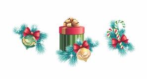 Sistema del diseño de las decoraciones de la Navidad Imágenes de archivo libres de regalías