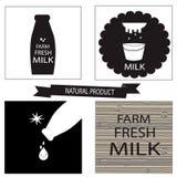 Sistema del diseño de las etiquetas de la leche Imágenes de archivo libres de regalías