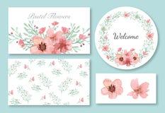 Sistema del diseño de las flores y de las hojas Fotografía de archivo libre de regalías