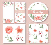 Sistema del diseño de las flores y de las hojas Foto de archivo libre de regalías
