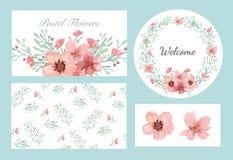 Sistema del diseño de las flores y de las hojas Fotografía de archivo